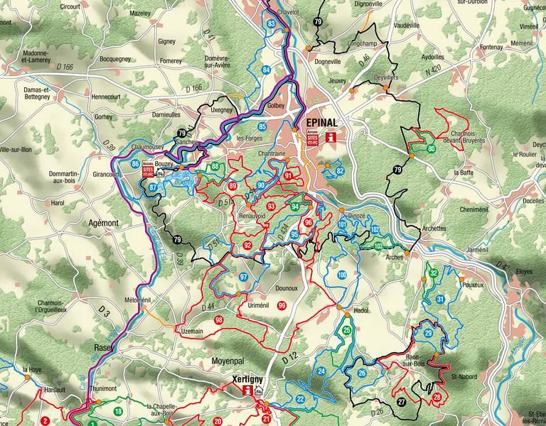Carte des circuits VTT du Pays d'Épinal
